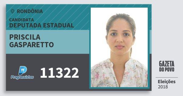 Santinho Priscila Gasparetto 11322 (PP) Deputada Estadual | Rondônia | Eleições 2018