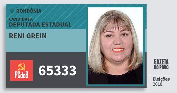 Santinho Reni Grein 65333 (PC do B) Deputada Estadual | Rondônia | Eleições 2018