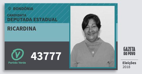 Santinho Ricardina 43777 (PV) Deputada Estadual | Rondônia | Eleições 2018