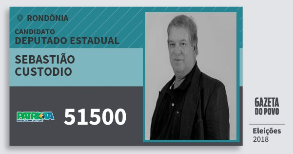 Santinho Sebastião Custodio 51500 (PATRI) Deputado Estadual | Rondônia | Eleições 2018