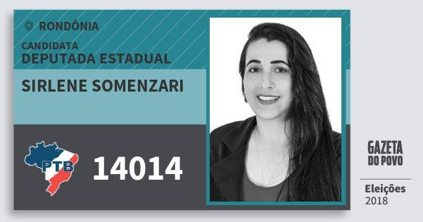 Santinho Sirlene Somenzari 14014 (PTB) Deputada Estadual | Rondônia | Eleições 2018