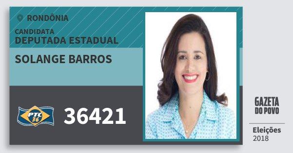 Santinho Solange Barros 36421 (PTC) Deputada Estadual | Rondônia | Eleições 2018