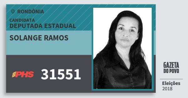 Santinho Solange Ramos 31551 (PHS) Deputada Estadual | Rondônia | Eleições 2018