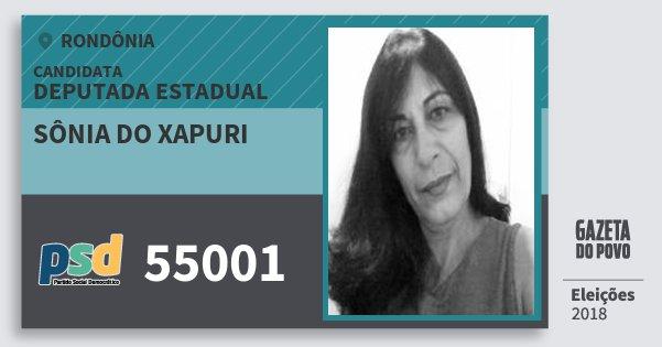Santinho Sônia do Xapuri 55001 (PSD) Deputada Estadual | Rondônia | Eleições 2018