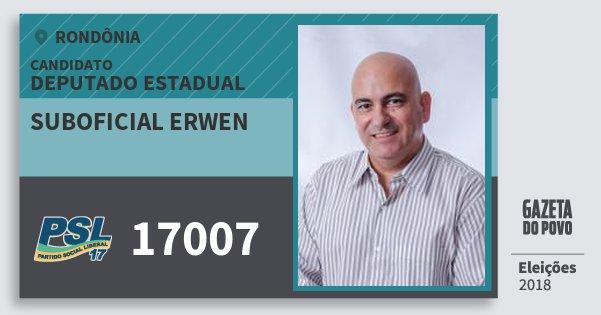 Santinho Suboficial Erwen 17007 (PSL) Deputado Estadual | Rondônia | Eleições 2018