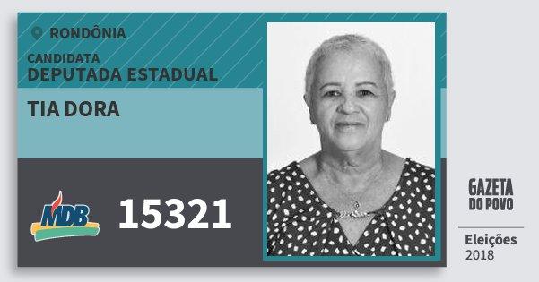 Santinho Tia Dora 15321 (MDB) Deputada Estadual | Rondônia | Eleições 2018