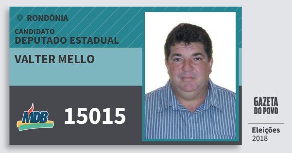 Santinho Valter Mello 15015 (MDB) Deputado Estadual | Rondônia | Eleições 2018