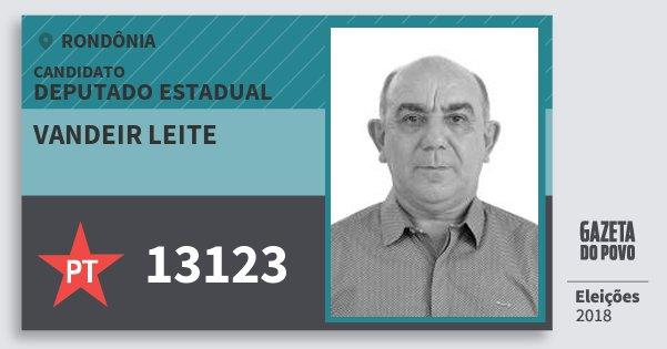 Santinho Vandeir Leite 13123 (PT) Deputado Estadual | Rondônia | Eleições 2018