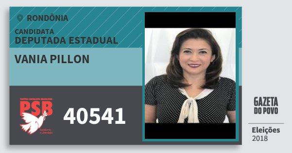 Santinho Vania Pillon 40541 (PSB) Deputada Estadual | Rondônia | Eleições 2018