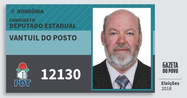 Santinho Vantuil do Posto 12130 (PDT) Deputado Estadual | Rondônia | Eleições 2018
