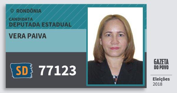Santinho Vera Paiva 77123 (SOLIDARIEDADE) Deputada Estadual | Rondônia | Eleições 2018