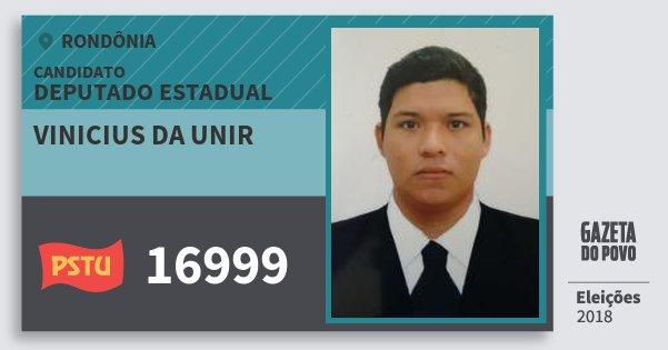 Santinho Vinicius da Unir 16999 (PSTU) Deputado Estadual | Rondônia | Eleições 2018