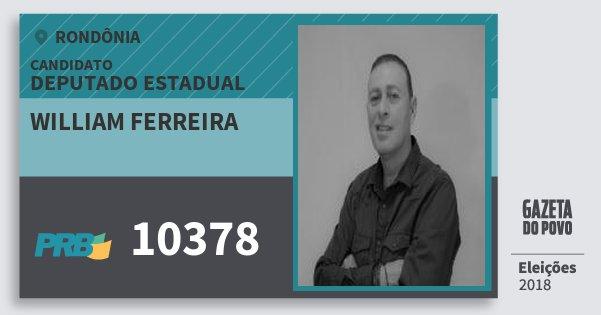 Santinho William Ferreira 10378 (PRB) Deputado Estadual | Rondônia | Eleições 2018
