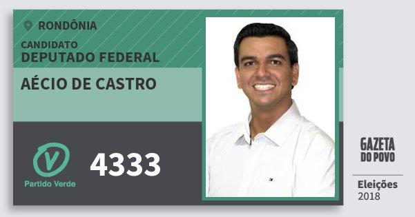 Santinho Aécio de Castro 4333 (PV) Deputado Federal | Rondônia | Eleições 2018