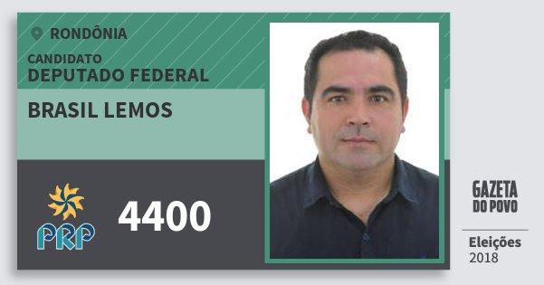 Santinho Brasil Lemos 4400 (PRP) Deputado Federal | Rondônia | Eleições 2018