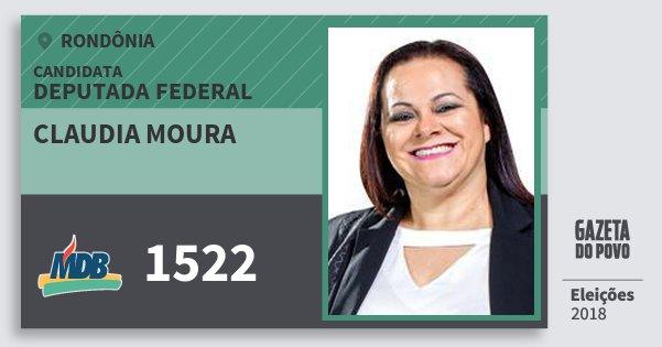 Santinho Claudia Moura 1522 (MDB) Deputada Federal | Rondônia | Eleições 2018