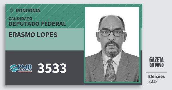 Santinho Erasmo Lopes 3533 (PMB) Deputado Federal | Rondônia | Eleições 2018