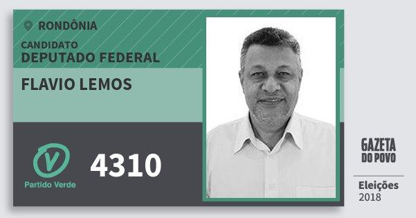 Santinho Flavio Lemos 4310 (PV) Deputado Federal | Rondônia | Eleições 2018