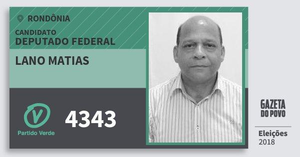 Santinho Lano Matias 4343 (PV) Deputado Federal | Rondônia | Eleições 2018