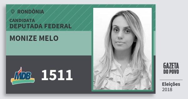 Santinho Monize Melo 1511 (MDB) Deputada Federal | Rondônia | Eleições 2018