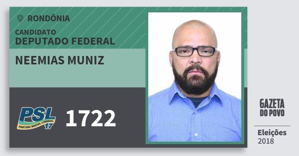 Santinho Neemias Muniz 1722 (PSL) Deputado Federal   Rondônia   Eleições 2018