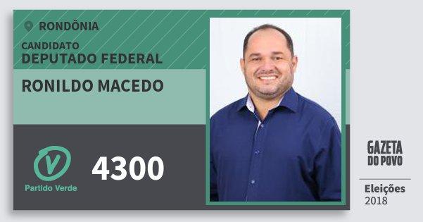 Santinho Ronildo Macedo 4300 (PV) Deputado Federal | Rondônia | Eleições 2018