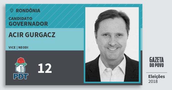 Santinho Acir Gurgacz 12 (PDT) Governador | Rondônia | Eleições 2018