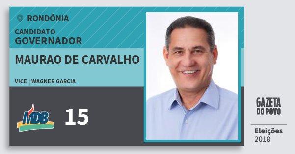 Santinho Maurao de Carvalho 15 (MDB) Governador | Rondônia | Eleições 2018