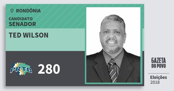 Santinho Ted Wilson 280 (PRTB) Senador | Rondônia | Eleições 2018