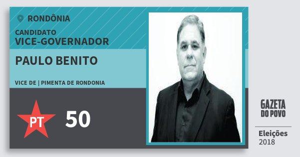 Santinho Paulo Benito 50 (PT) Vice-governador | Rondônia | Eleições 2018