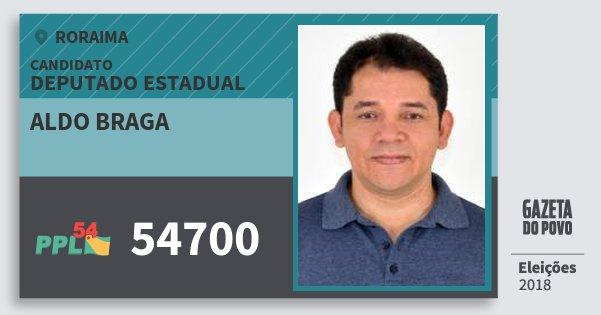 Santinho Aldo Braga 54700 (PPL) Deputado Estadual | Roraima | Eleições 2018