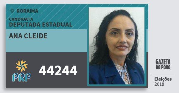 Santinho Ana Cleide 44244 (PRP) Deputada Estadual | Roraima | Eleições 2018