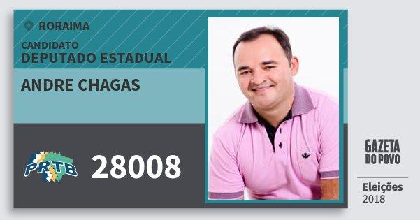 Santinho Andre Chagas 28008 (PRTB) Deputado Estadual | Roraima | Eleições 2018
