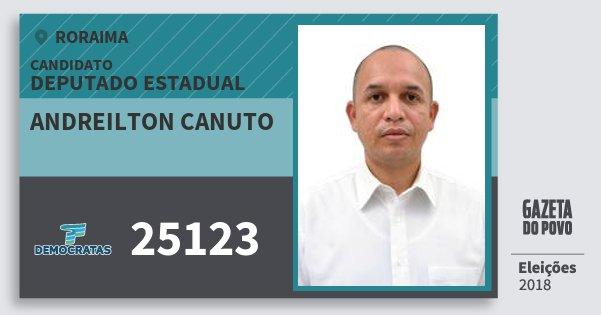 Santinho Andreilton Canuto 25123 (DEM) Deputado Estadual | Roraima | Eleições 2018