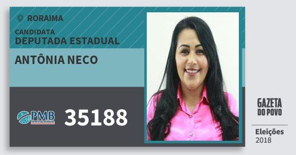 Santinho Antônia Neco 35188 (PMB) Deputada Estadual | Roraima | Eleições 2018