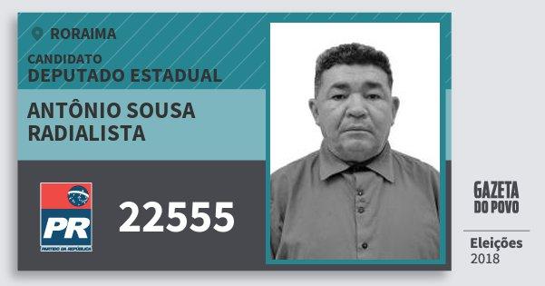 Santinho Antônio Sousa Radialista 22555 (PR) Deputado Estadual | Roraima | Eleições 2018