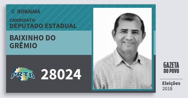 Santinho Baixinho do Grêmio 28024 (PRTB) Deputado Estadual   Roraima   Eleições 2018