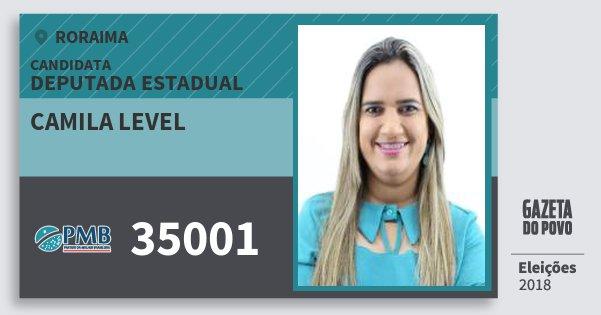 Santinho Camila Level 35001 (PMB) Deputada Estadual | Roraima | Eleições 2018