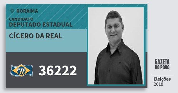 Santinho Cícero da Real 36222 (PTC) Deputado Estadual | Roraima | Eleições 2018