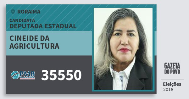 Santinho Cineide da Agricultura 35550 (PMB) Deputada Estadual | Roraima | Eleições 2018