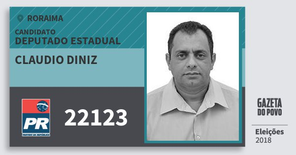 Santinho Claudio Diniz 22123 (PR) Deputado Estadual | Roraima | Eleições 2018