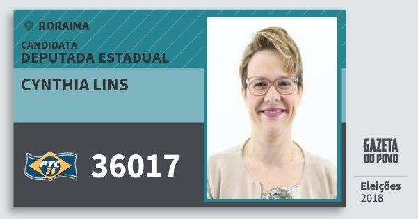 Santinho Cynthia Lins 36017 (PTC) Deputada Estadual | Roraima | Eleições 2018
