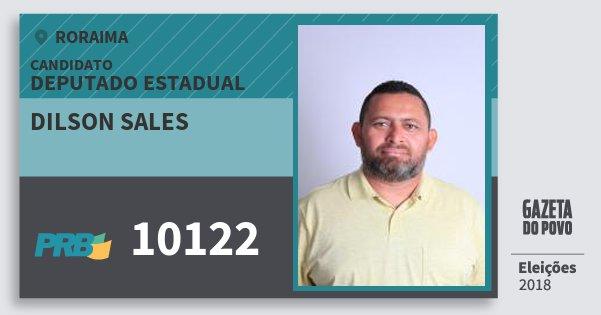Santinho Dilson Sales 10122 (PRB) Deputado Estadual | Roraima | Eleições 2018