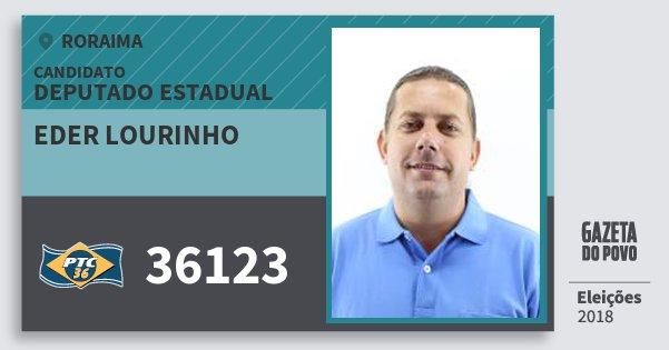 Santinho Eder Lourinho 36123 (PTC) Deputado Estadual | Roraima | Eleições 2018