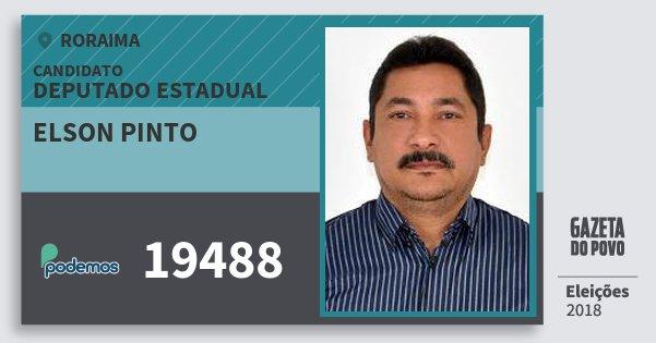 Santinho Elson Pinto 19488 (PODE) Deputado Estadual | Roraima | Eleições 2018