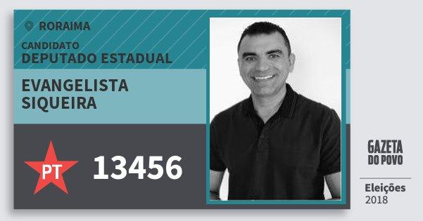 Santinho Evangelista Siqueira 13456 (PT) Deputado Estadual | Roraima | Eleições 2018
