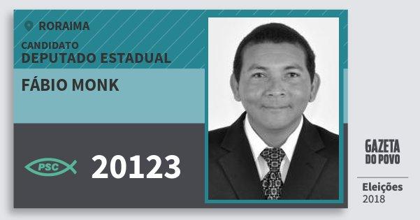 Santinho Fábio Monk 20123 (PSC) Deputado Estadual | Roraima | Eleições 2018