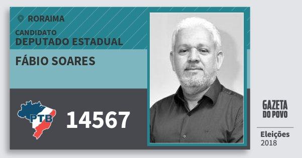 Santinho Fábio Soares 14567 (PTB) Deputado Estadual | Roraima | Eleições 2018