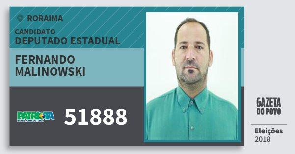 Santinho Fernando Malinowski 51888 (PATRI) Deputado Estadual | Roraima | Eleições 2018