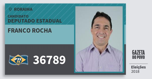 Santinho Franco Rocha 36789 (PTC) Deputado Estadual | Roraima | Eleições 2018